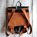 Batohy - Textilno-kožený batoh Hugo (Líštičky) - 11106872_