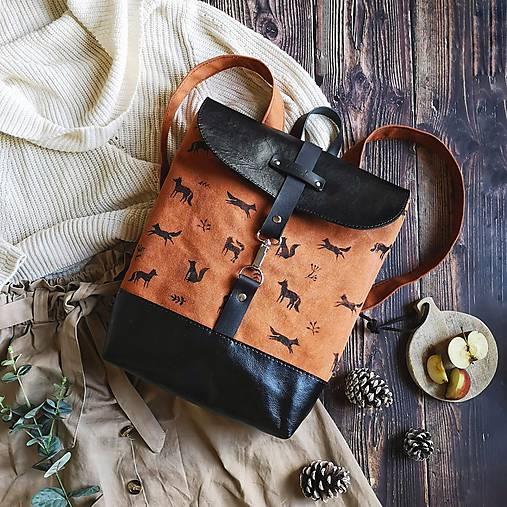 Textilno-kožený batoh Hugo (Líštičky)