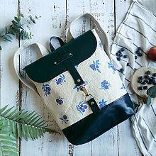 Batohy - Textilno-kožený batoh Hugo (Čučoriedky) - 11106920_