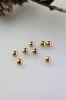 Korálky - AKCIA, korálka strieborná pozlátená (červené zlato) - 11108385_
