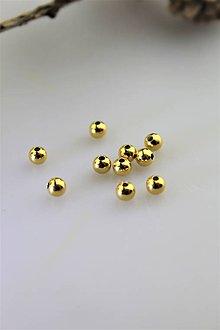 Korálky - AKCIA, korálka strieborná pozlátená (žlté zlato) - 11108397_