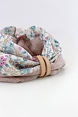 Šály - Kvetinový navliekací nákrčník z ľanu a bavlny - 11107006_