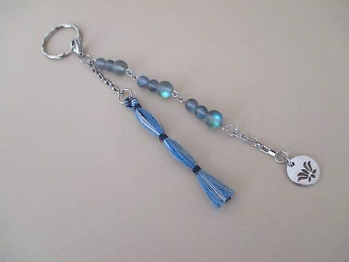 FOLK - kľúčenka so šedo/modrým opalitom