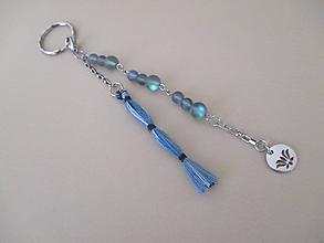 Kľúčenky - FOLK - kľúčenka so šedo/modrým opalitom - 11107521_