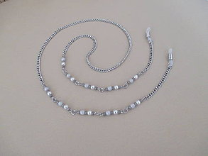 Iné šperky - Retiazka na okuliare - bielo/sivá - chirurgická oceľ - 11107658_
