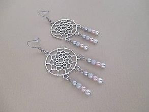 Náušnice - Lapač snov - dlhé náušnice - ružovo/bielo/sivé - 11108029_