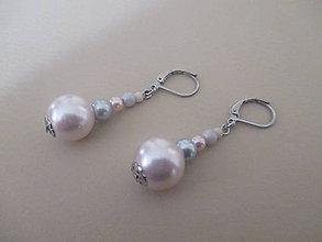 Náušnice - Perlové náušnice - sivo/ružové - chirurgická oceľ - 11108943_