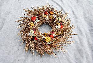 Dekorácie - Jesenný veniec (s machovkami) - 11109250_