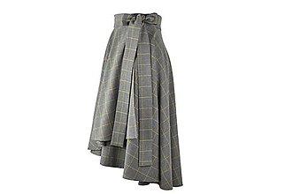 Sukne - FIONA - asymetrická zavinovacia sukňa (A1 - sivé káro s horčicovým prúžkom) - 11109056_