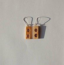 Náušnice - Drevené náušnice - Smrekové obdĺžniky - 11108483_