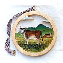 Dekorácie - Drevený Obraz  Krava - 11106866_