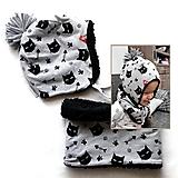 Detské súpravy - Zimný set Cats and fish & fleece black - 11109710_