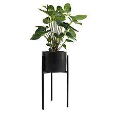 Dekorácie - Čierny betónový kvetináč so stojanom - 11105541_