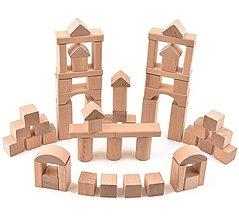 Hračky - Drevená stavebnica - 62 ks komponentov (+ vrecúško) - 11107267_