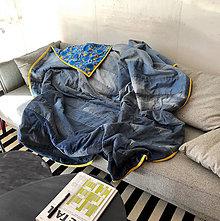Úžitkový textil - Patchwork jeans deka - 11109928_