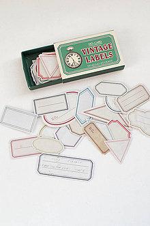 Papier - Vintage nálepky - veľký set  (VINTAGE štítky) - 11105563_