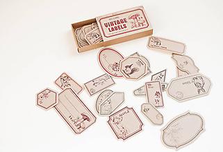 Papier - Vintage nálepky - veľký set  (VINTAGE štítky natur) - 11105566_