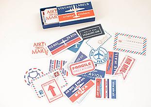 Papier - Vintage nálepky - veľký set  (VINTAGE air mail) - 11105577_
