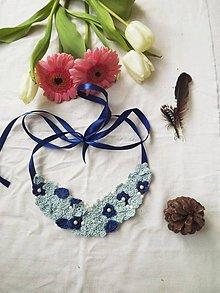 """Náhrdelníky - Háčkované náhrdelníky """"kvetuvanie"""" rôzne motívy (Bledo sýto modrá) - 11107981_"""