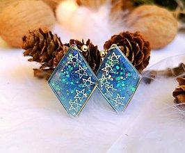 Náušnice - Vianočné náušnice napichovacie modré so striebornými hviezdičkami. - 11108702_