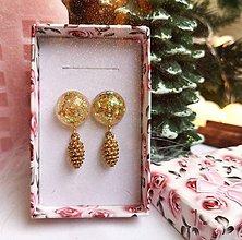 Náušnice - Vianočné náušnice napichovacie zlaté so šiškami, chirurgická oceľ - 11108937_