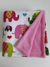 Textil - Detská deka ružová - Farebné sloníky veľké - 11111985_