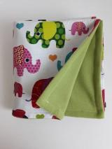 Textil - Detská deka zelená - Farebné sloníky veľké - 11111996_