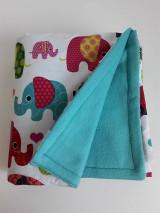 Textil - Detská deka tyrkysová - Farebné sloníky veľké - 11111999_