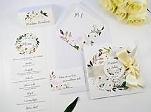 Papiernictvo - Svadobné oznámenie Olívia so stuhou - 11113603_