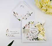 Papiernictvo - Svadobné oznámenie Olívia so stuhou - 11113611_