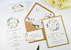 Papiernictvo - Svadobné oznámenie Olívia (Previazanie ľanovým špagátikom) - 11113721_