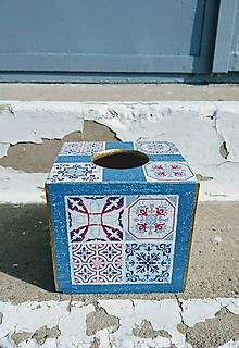 """Krabičky - Box na vreckovky """"Maroko Blue"""" - 11112572_"""