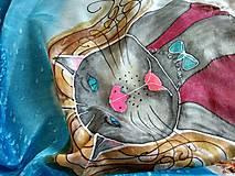 Šatky - Hodvábna šatka crazy cats - 11111714_