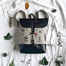 Batohy - Textilno-kožený batoh Hugo (Herbár) - 11110816_