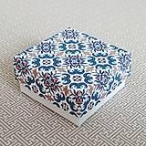Obalový materiál - Krabička darčeková modrý ornament - 11112981_