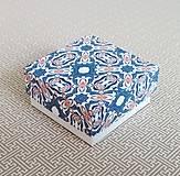 Obalový materiál - Krabička darčeková modrý ornament - 11113002_