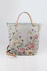 """Kabelky - Veľká ručne maľovaná kabelka z ľanu """"VintageRosie"""" - 11110412_"""