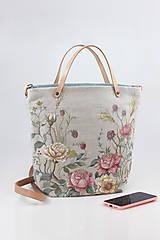 """Kabelky - Veľká ručne maľovaná kabelka z ľanu """"VintageRosie"""" - 11110502_"""