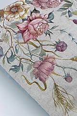 """Kabelky - Veľká ručne maľovaná kabelka z ľanu """"VintageRosie"""" - 11110602_"""
