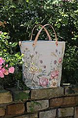 """Kabelky - Veľká ručne maľovaná kabelka z ľanu """"VintageRosie"""" - 11110603_"""