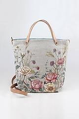 """- Veľká ručne maľovaná kabelka z ľanu """"VintageRosie"""" - 11110620_"""