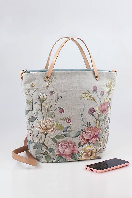 """Veľká ručne maľovaná kabelka z ľanu """"VintageRosie"""""""