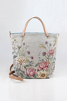 """Kabelky - Veľká ručne maľovaná kabelka z ľanu """"VintageRosie"""" - 11110620_"""