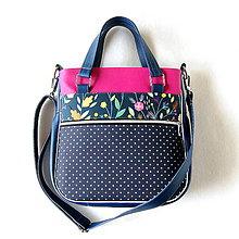 Veľké tašky - Big Sandy - Tmavomodrá s bodkami a s kvetmi - 11111457_