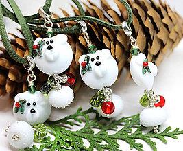 Náhrdelníky - Vianočné medvedíky privesok /l-16 - 11112377_