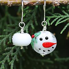 Náušnice - Vianočný snehuliak mismatch náušnice /l-112 - 11112488_