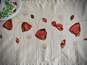 Úžitkový textil - Ľanový obrus - vlčie maky, k odberu ihneď - 11111939_