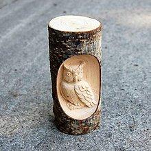 Dekorácie - Drevená dekorácia Sova - 11110012_