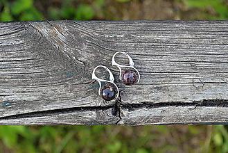 Náušnice - Náušnice Granát v rhodiovanom striebre - 11111269_