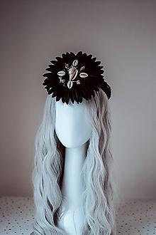 Ozdoby do vlasov - Čierna mušličková koruna z kolekcie 𝕾𝖍𝖆𝖒𝖆𝖓 𝕳𝖆𝖑𝖑𝖔𝖜𝖊𝖊𝖓 - 11111830_